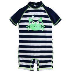 Wippette Baby Boys Swimwear Navy Stripes with Cute Crabby 1-Piece Rash Guard