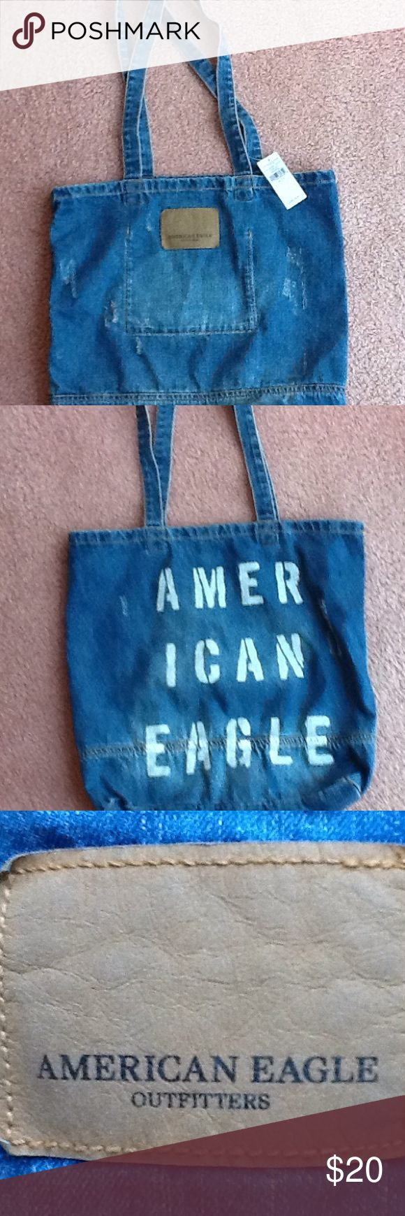 American Eagle Outfitters Denim Tote - NWT Brand new tote. Never used. Distressed denim.  American Eagle painted on the back. American Eagle Outfitters Bags Totes