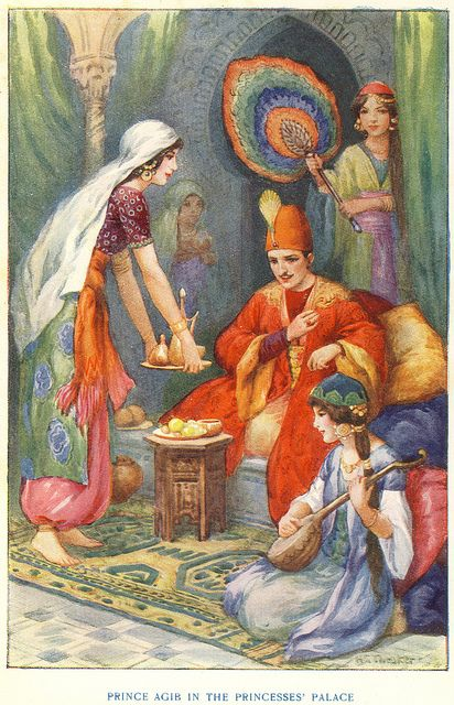 Prince Agib In The Princesses' Palace By Harry G. Theaker From The Arabian Nights .1940 edition