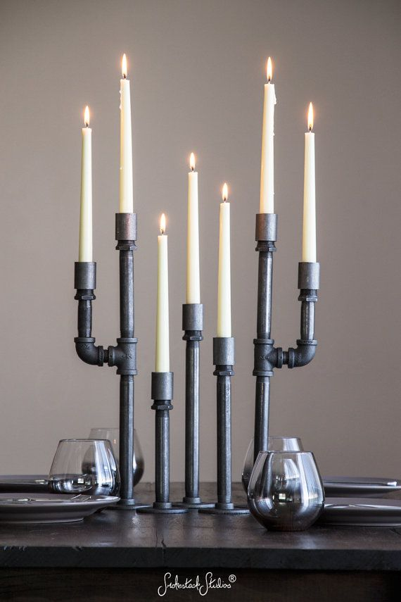 Pipe Candelabra Taper Set   Taper Candle Holders   Industrial Chic Decor    Metal Home Accessories   Pipe Furniture   Table Decorations By  SmokestackStudios ...