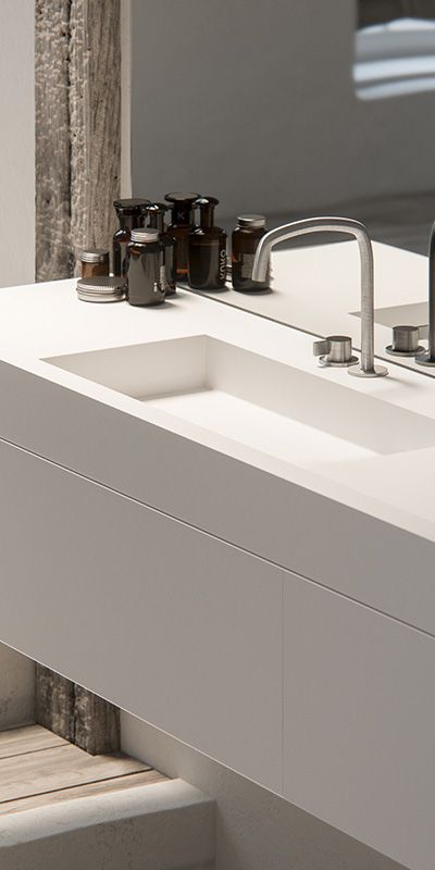 Piet Boon deck mounted tap bycocoon.com | Piet Boon® by COCOON design bathroomtaps | inox brushed stainless steel | minimalist bathroom design | modern bathroom taps & fittings | with our modern white solid surface vanity | hotel & villa design | Dutch Designer Brand COCOON