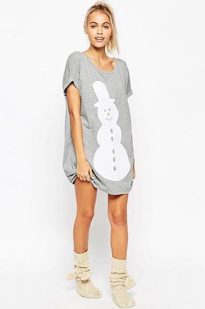 Ellady Fashion Snowman Loose Grey Shirt Dress - ELLADY