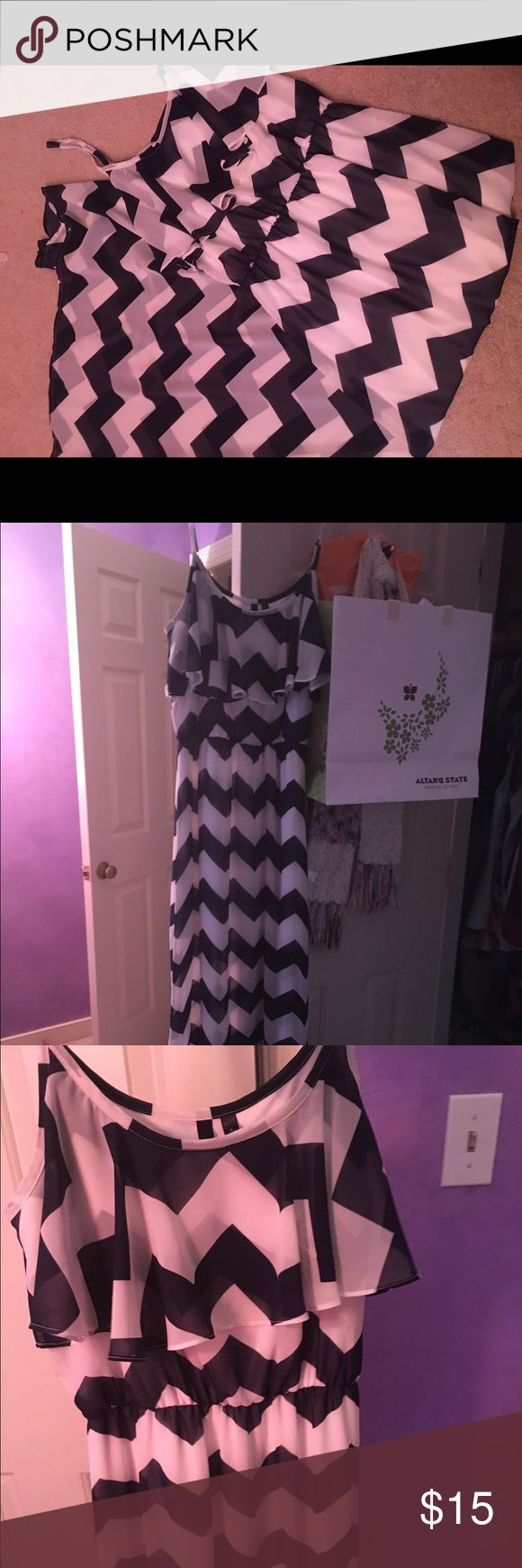 Chevron blue and white maxi dress. Size M. Blue and white chevron maxi dress from Target. Super cute for spring and summer. Only worn a few times. In really good condition. Dresses Maxi