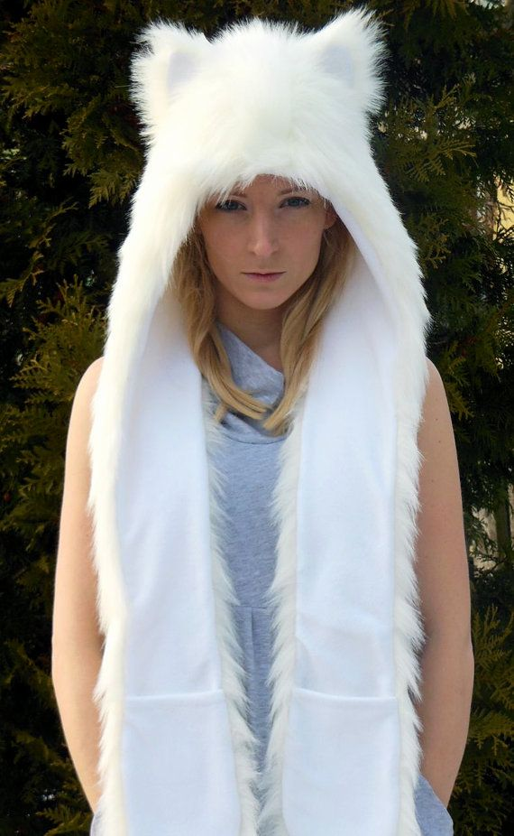 Faux fur wolf hood / hat with ears scarf and pockets by WhiteWoof, zł150.00