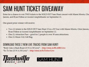 Nashville Music City Sam Hunt Ticket Giveaway Sweepstakes