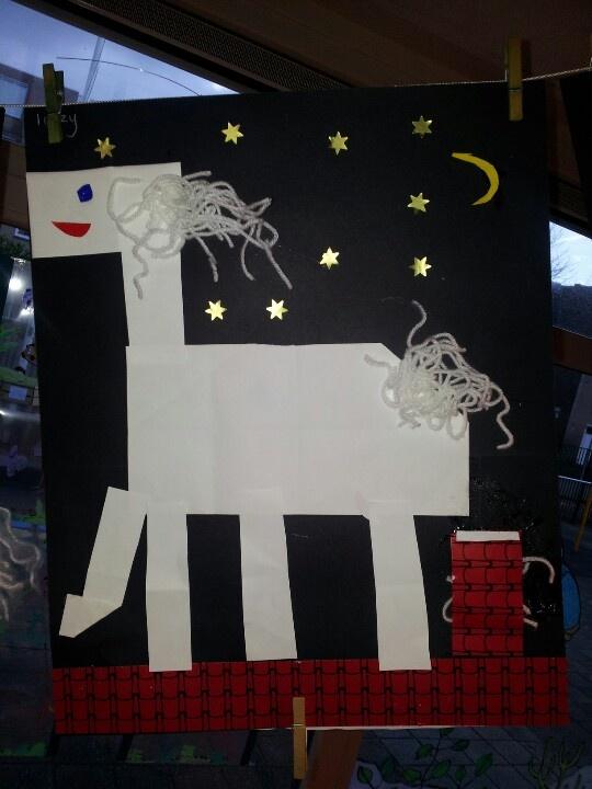 Het paard van Sinterklaas: gemaakt van 16 vierkantjes.