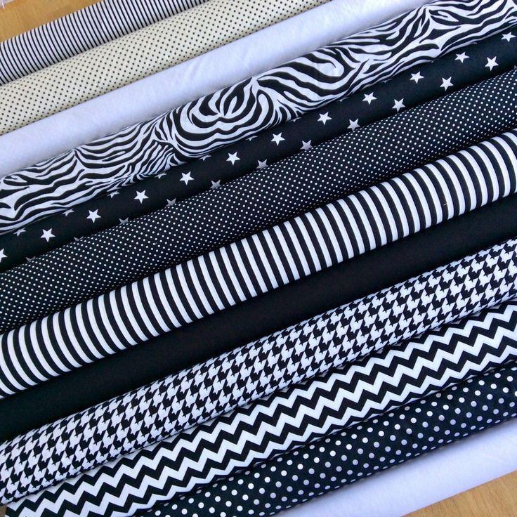 MONOCHROME 100% Cotton Poplin Fabric black white star spot chevron stripe zebra …  – Fabric