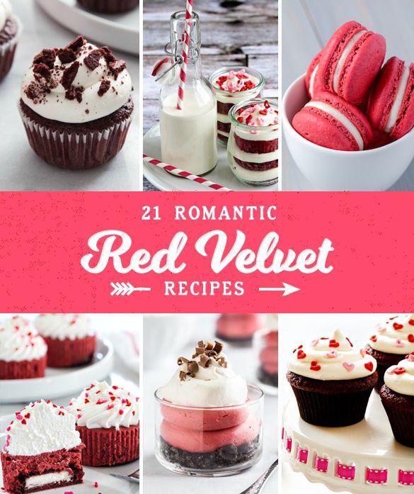 21 Romantic Red Velvet Recipes. #17 is amazing! #redvelvet #recipes