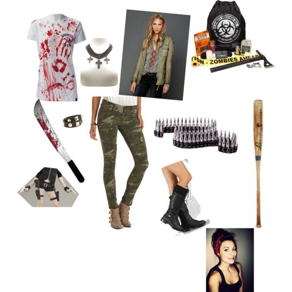 """""""Zombie Hunter"""" Polyvore 2013 costume with zombie on a leash would be cute and easy"""