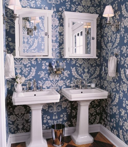 17 best images about blue and white interiors on pinterest for Bathroom wallpaper near me