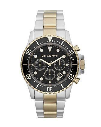 Oversized Two-Tone Stainless Steel Everest Chronograph Watch by Michael Kors at Neiman Marcus.