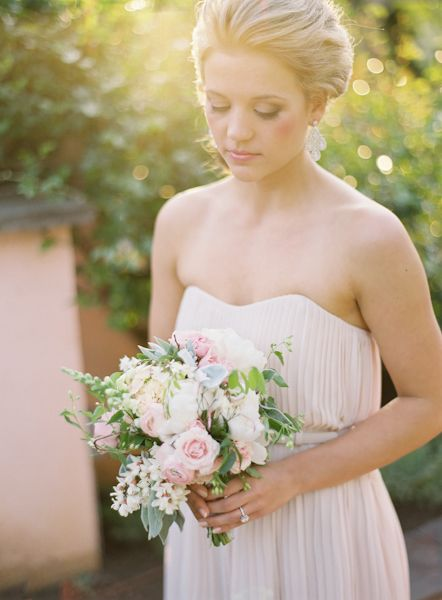 accessories, beauty, floral, dress, setting, bouquet, flowers, hellebores, peony, rose, ivory, off white, chiffon, romantic, strapless, earring, ring, updo, natural, outdoor, garden, real, Summer, blush, hair, hairstyles, makeup, vintage, beautiful, photo, photography