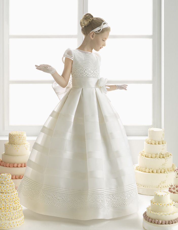Charming Short Sleeved Lace Trimmed Waist Ball Gown Stripped Organza Communion Dress with Flower Ribbon