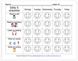 "Daily 5 Checklist, I really like the idea of the students keeping track of what they choose each week, if your smiley is filled in, choose something else. If you have 3 of one kind during the week, chose something else. stickers, stars, classroom money for ""#"" smiley faces  each week."