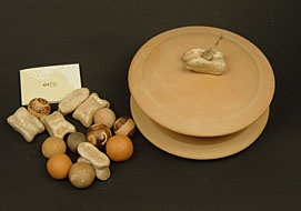 "ceramic marbles & knucklebones in a ""pyxis"""
