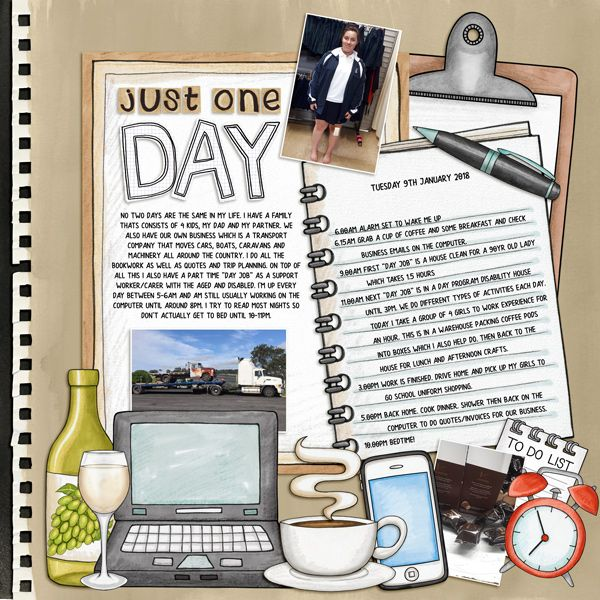 Just One Day - digital scrapbook layout created for The Lilypad's Month of Challenges (Day 4) by Kirstie using digital scrapbooking kits from Kate Hadfield Designs.