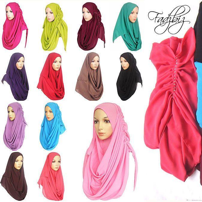 Solid Chiffon Slip On Hijab Instant Scarf Shawl Jilbab Abaya #Unbranded #Hijab