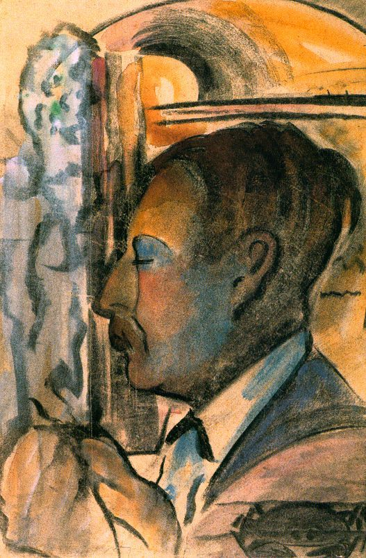 Farkas Istvan. Self-Portrait, 1932, aquarelle et fusain, Galerie Nationale Hongroise, Budapest.
