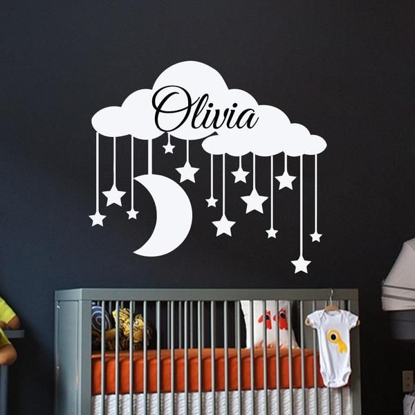 Wall Decal Personalized Name Clouds With Star Moon Wall Sticker Bedroom Girls