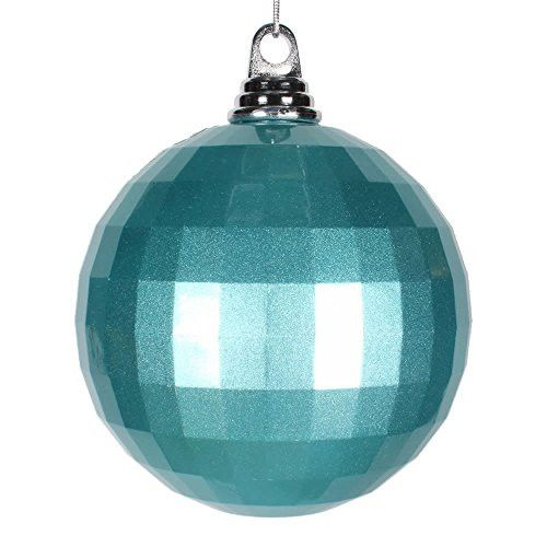 5.5 inch Teal Mirror Ball Christmas Ornament