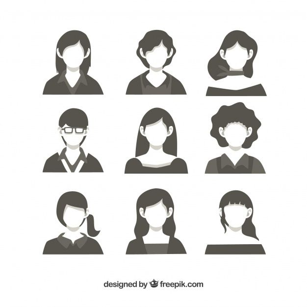 Pack of female avatars Free Vector