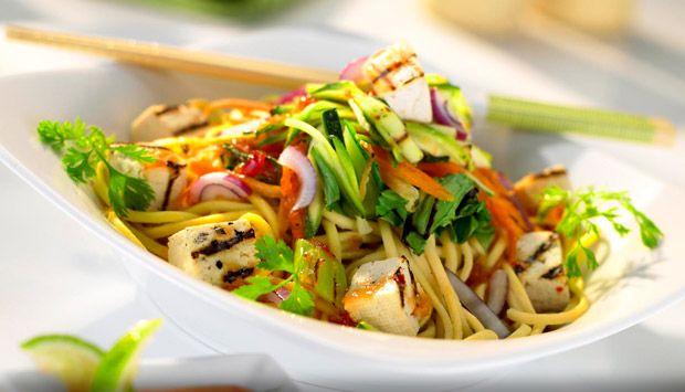 Warm Asian Style Noodle Salad