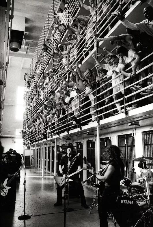 Metallica performing at San Quentin State Prison, 2003.
