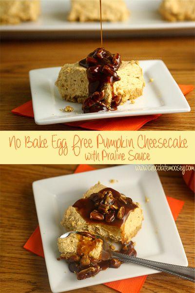 No Bake Egg Free Pumpkin Cheesecake with Praline Sauce | www.chocolatemoosey.com