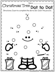 Preschool Worksheets for December - Christmas Tree dot to dot.