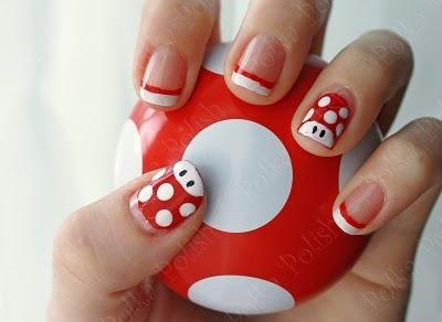 i love nail stamping!: Nails Stamps, Love Nails, Nails Art, Nails Ideas, Super Mario, Mario Mushrooms, Mushrooms Nails, Nails Projects, Choice Nails