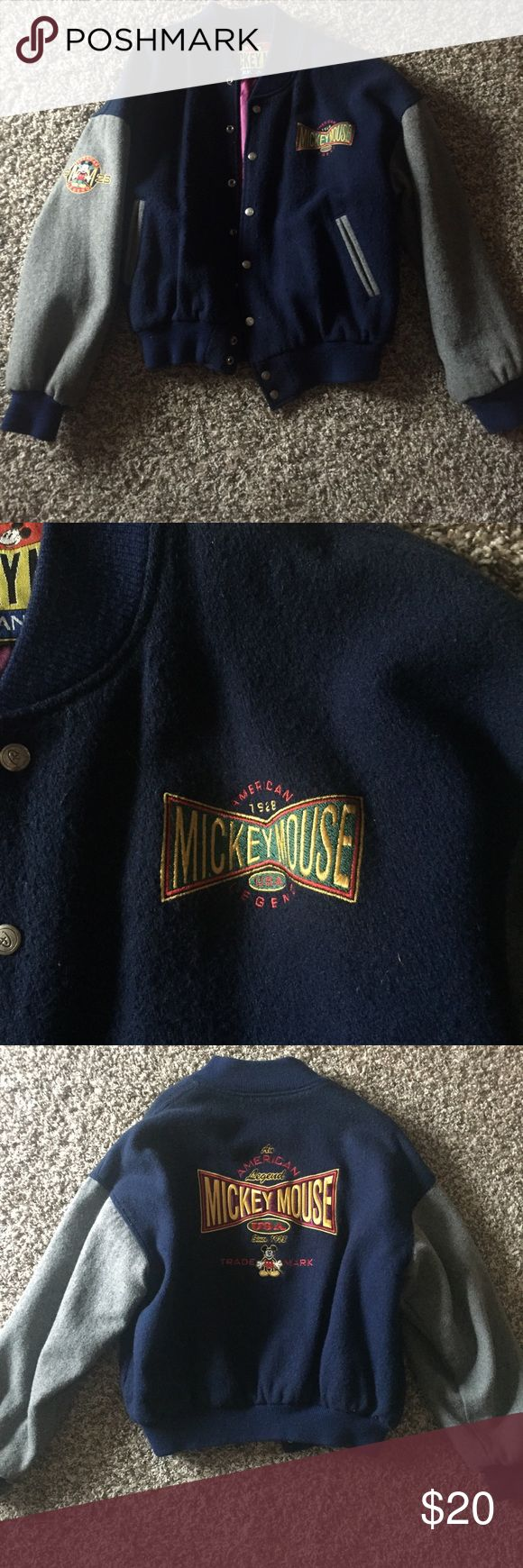 Mickey Mouse Varsity Jacket Vintage Mickey Mouse Jacket. Probably worth more then what I'm selling it for as I doubt a lot of them still exist. In great outside condition and has the one rip on the inside lining. Disney Jackets & Coats
