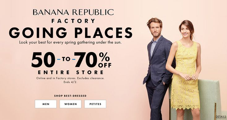 Online Only! 50-70% #Off Entire Store.  Store: #BananaRepublicFactoryStore Scope: Entire Store Ends On : 04/02/2018  Get more deals: http://www.geoqpons.com/Banana-Republic-Factory-Store-coupon-codes  Get our Android mobile App: https://play.google.com/store/apps/details?id=com.mm.views  Get our iOS mobile App: https://itunes.apple.com/us/app/geoqpons-local-coupons-discounts/id397729759?mt=8
