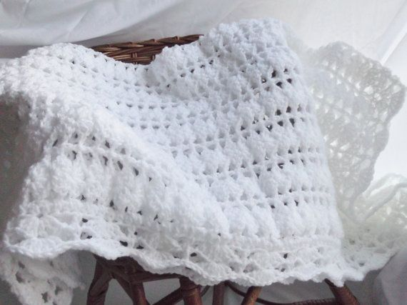 Crochet Patterns Christening Shawls : Christening Blanket or Baby Shawl Hand Made Crochet In White