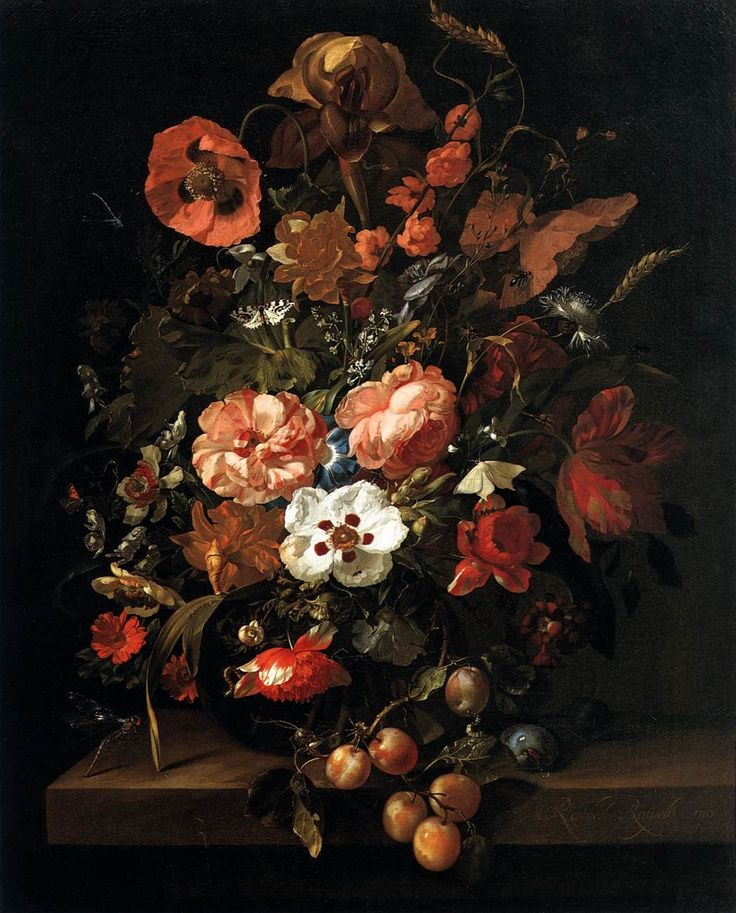Still Life Flowers | Still Life with Flowers and Fruit by Rachel Ruysch | my daily art ...
