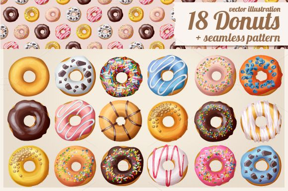 18 Donuts Icons + Seamless Pattern by Ann-zabella on @creativemarket