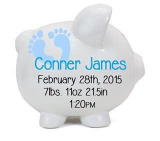 Baby Boy Personalized Piggy Bank
