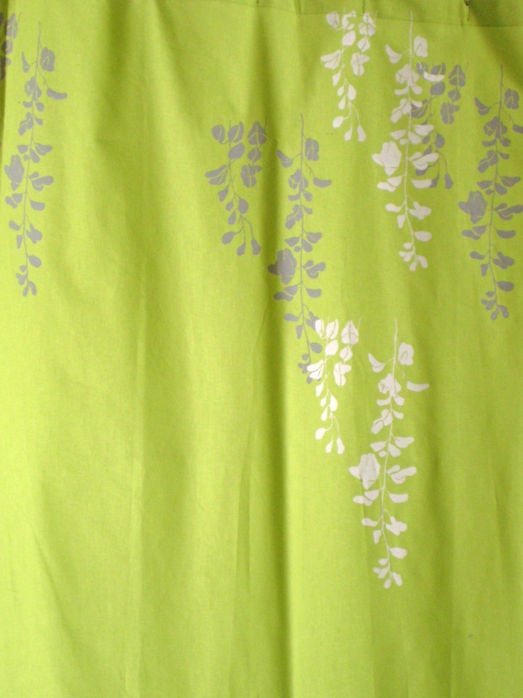 lime green curtain with wisteria print