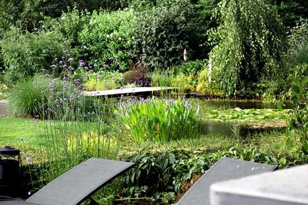Enorme natuurlijke vijver in landelijke tuin een prachtig for Vijverpomp voor grote vijver