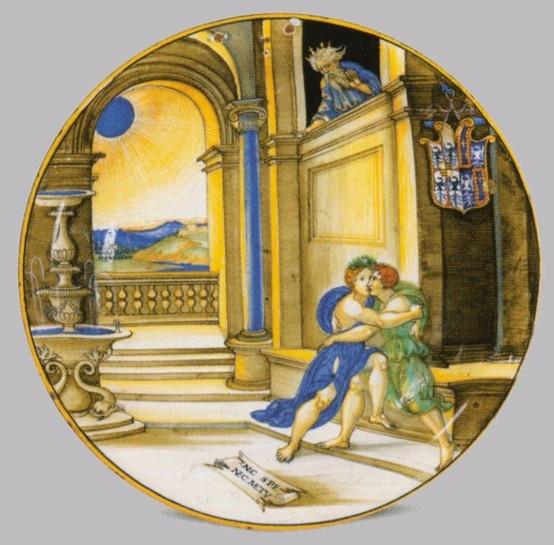 Nicola di Grabriele Sbraghe da Urbano (ca. 1480-1537/38) Service of Isabella d'Este (1474-1539), Bowl with the legend of Abimelech spying Isaac and Rebecca Italy, Urbino, ca. 1524-1525 Majolica a istoriato, painted in polychrome, D. 27 cm Paris, Musée du Louvre, OA7578