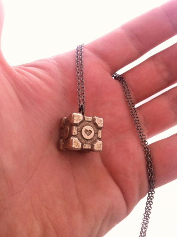 Companion Cube Pendant Portal Geek Gift by niquegeek on Etsy