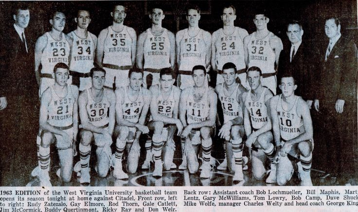 The entire 1963 WVU men's basketball team is pictured below. Rod Thorn (44) and Gale Catlett (22) are kneeling side-by-side in the front row. I was a junior at Triadelphia High School this year. WVU basketball was dominate during the 1960's.