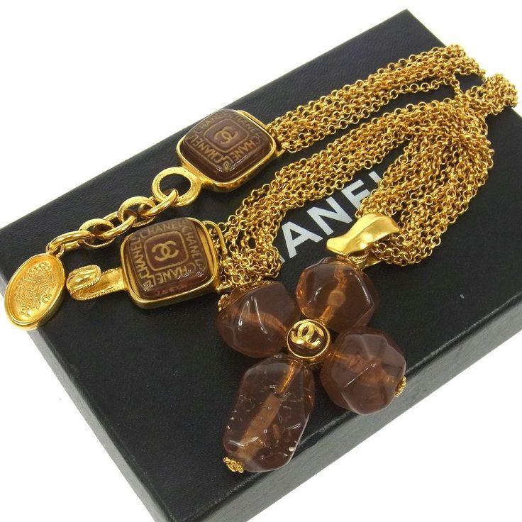 Authentic CHANEL Vintage CC Logos Gold Chain Pendant Necklace 99A France E06484 #Chanel #Pendant