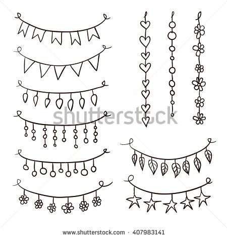 Set of hand drawn vector garlands. Collection of birthday party bunting festive garlands