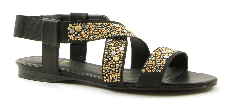 La Strada 605927l zwarte platte sandaal