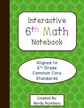 "This product is a complete interactive notebook set to teach 6th grade math. From the beginning table of contents to the end glossary, everything is included that you will need throughout the school year. The notebook set is completely aligned to 6th grade math Common Core State Standards. Every page is matched to a specific standard and contains the standard and an ""I can"" statement on the title piece."