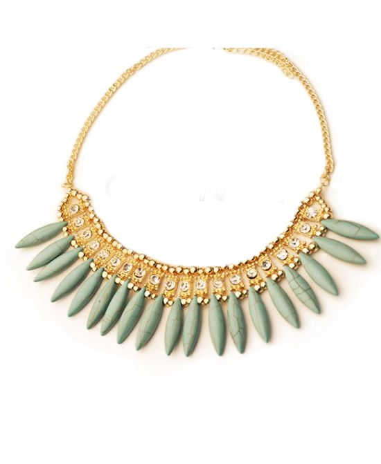 Green Gem Golden Necklace