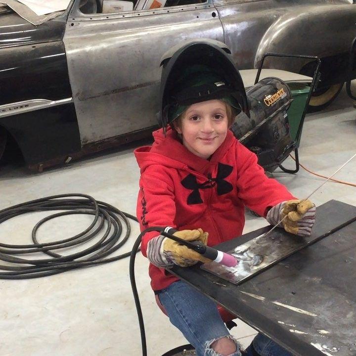 Jack practicing on some scrap metal today. #tigwelding #gmaw #welding #fabricationlife #speedglas @3mspeedglas
