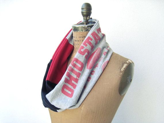Ohio State T Shirt Infinity Scarf / Red Black Gray / by ohzie