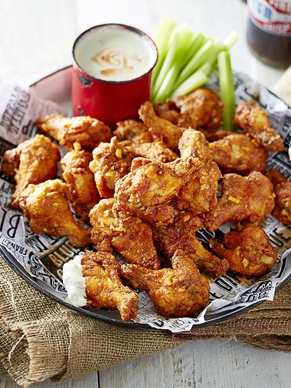 This recipe for buffalo wings with blue cheese dip comes from Randy's Wing Bar and they are addictive. To make an authentic buffalo wing you should use Frank's® RedHot Sauce.