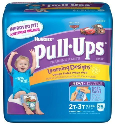 Huggies Pull-Ups Training Pants, Learning Designs, Size 4T-5T (38-50 lb), Disney Pixar Cars, 19 ct. by Huggies. $15.99. Jumbo. Fade when wet! With easy open sides! Improved fit! Graphics fade outside of the pants when we to help him learn to stay dry! Made in USA.